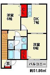 クレール上津役[2階]の間取り