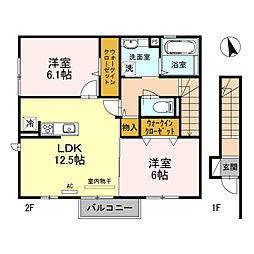 兵庫県三木市志染町西自由が丘1丁目の賃貸アパートの間取り