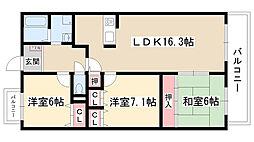 愛知県名古屋市守山区森孝3丁目の賃貸マンションの間取り