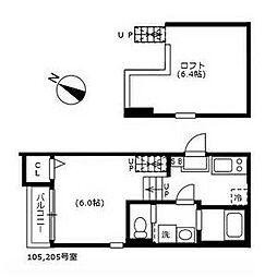 名古屋市営東山線 八田駅 徒歩4分の賃貸アパート 2階1SKの間取り
