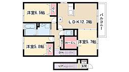 愛知県名古屋市守山区村前町の賃貸アパートの間取り
