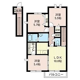 コーポトゥーガC[2階]の間取り