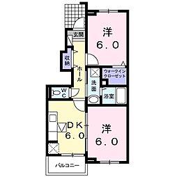 岡山県赤磐市桜が丘西9の賃貸アパートの間取り