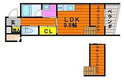 クレル瀬戸S棟 1階ワンルームの間取り