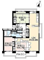 UR多摩ニュータウンライフステージ豊ヶ丘-1 5階3LDKの間取り