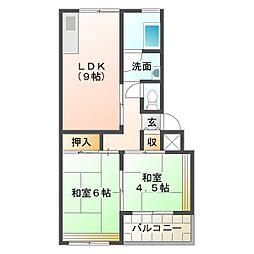 垂水上高丸住宅D棟[1階]の間取り