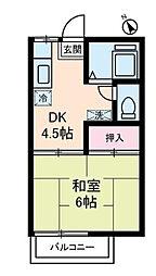 神奈川県秦野市萩が丘の賃貸アパートの間取り
