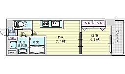 Osaka Metro御堂筋線 西中島南方駅 徒歩2分の賃貸マンション 7階1DKの間取り