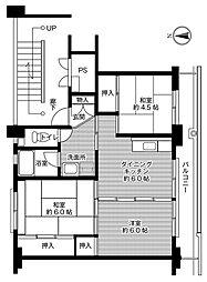 ビレッジハウス松山上野[302号室号室]の間取り