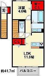 ロザII A棟[2階]の間取り
