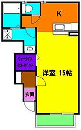 静岡県磐田市富士見町1丁目の賃貸アパートの間取り