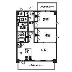 大阪府八尾市東山本新町3丁目の賃貸マンションの間取り