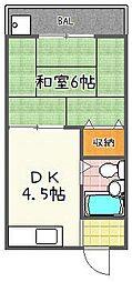 寺内ハウス[203号室]の間取り