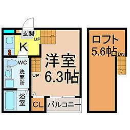 愛知県名古屋市中村区五反城町4の賃貸アパートの間取り