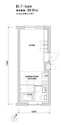東京メトロ銀座線 表参道駅 徒歩9分の賃貸マンション 2階ワンルームの間取り