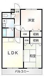 ミルフィーユ門井 2階2LDKの間取り