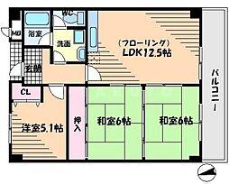大阪府吹田市佐井寺4丁目の賃貸マンションの間取り