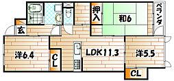 ココガモ&壺壺蒲生[304号室]の間取り