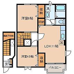 長野県諏訪市大字湖南の賃貸アパートの間取り