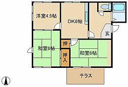 兵庫県高砂市伊保崎5の賃貸アパートの間取り