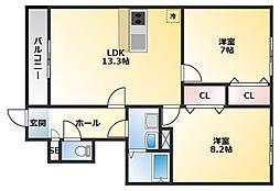 アムールB棟[2階]の間取り