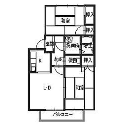 兵庫県加西市北条町古坂5丁目の賃貸アパートの間取り
