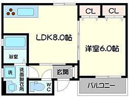 クリエオーレ生江II[2階]の間取り