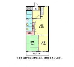 愛知県一宮市木曽川町門間字金屎の賃貸アパートの間取り