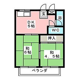 グリーンコーポ長谷川 B棟[1階]の間取り