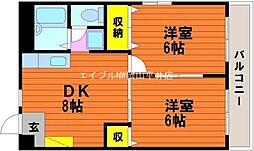 岡山県岡山市中区山崎の賃貸マンションの間取り