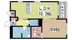 兵庫県神戸市長田区日吉町6丁目の賃貸アパートの間取り