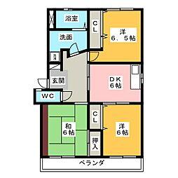 サニーコーポ飯塚[2階]の間取り