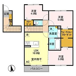 (仮)D-room平井町 A[2階]の間取り