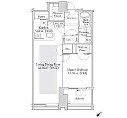 ラ・トゥール新宿ガーデン 29階1LDKの間取り