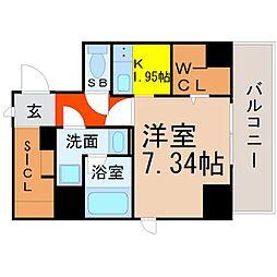 K Smart Kanayama(ケイスマートカナヤマ) 8階1Kの間取り