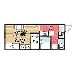 JR成田線 成田空港駅 バス14分 三里塚下車 徒歩17分の賃貸アパート 1階1Kの間取り