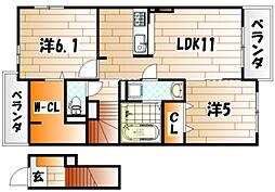 クレールⅡ[2階]の間取り