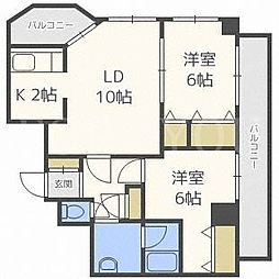 北海道札幌市東区北三十四条東9丁目の賃貸マンションの間取り