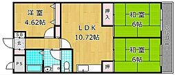 大阪府枚方市茄子作3丁目の賃貸マンションの間取り