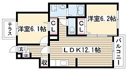 愛知県名古屋市名東区猪子石原1丁目の賃貸アパートの間取り