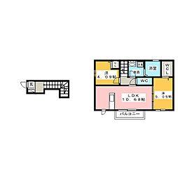 新築(仮称)D-room知多市南巽が丘 2階2LDKの間取り