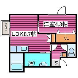 北海道札幌市東区北四十三条東18丁目の賃貸アパートの間取り