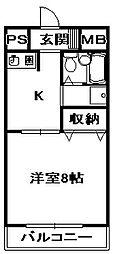 ピアシティ三田 7階1Kの間取り