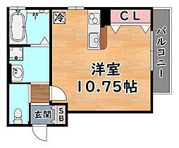 阪急神戸本線 王子公園駅 徒歩8分の賃貸アパート 1階ワンルームの間取り
