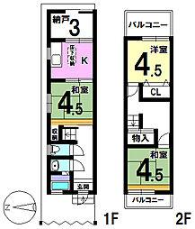 [テラスハウス] 大阪府大阪市住之江区北島2丁目 の賃貸【/】の間取り