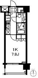 芝ウエスト 2階1Kの間取り