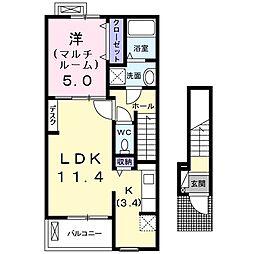 和歌山県和歌山市園部の賃貸アパートの間取り