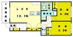 レジデンス福間駅前参番館[1階]の間取り