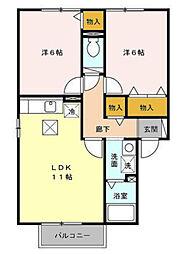 サンパティーク AB[B101号室号室]の間取り