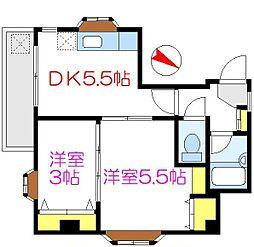 東京メトロ日比谷線 三ノ輪駅 徒歩6分の賃貸マンション 1階2DKの間取り